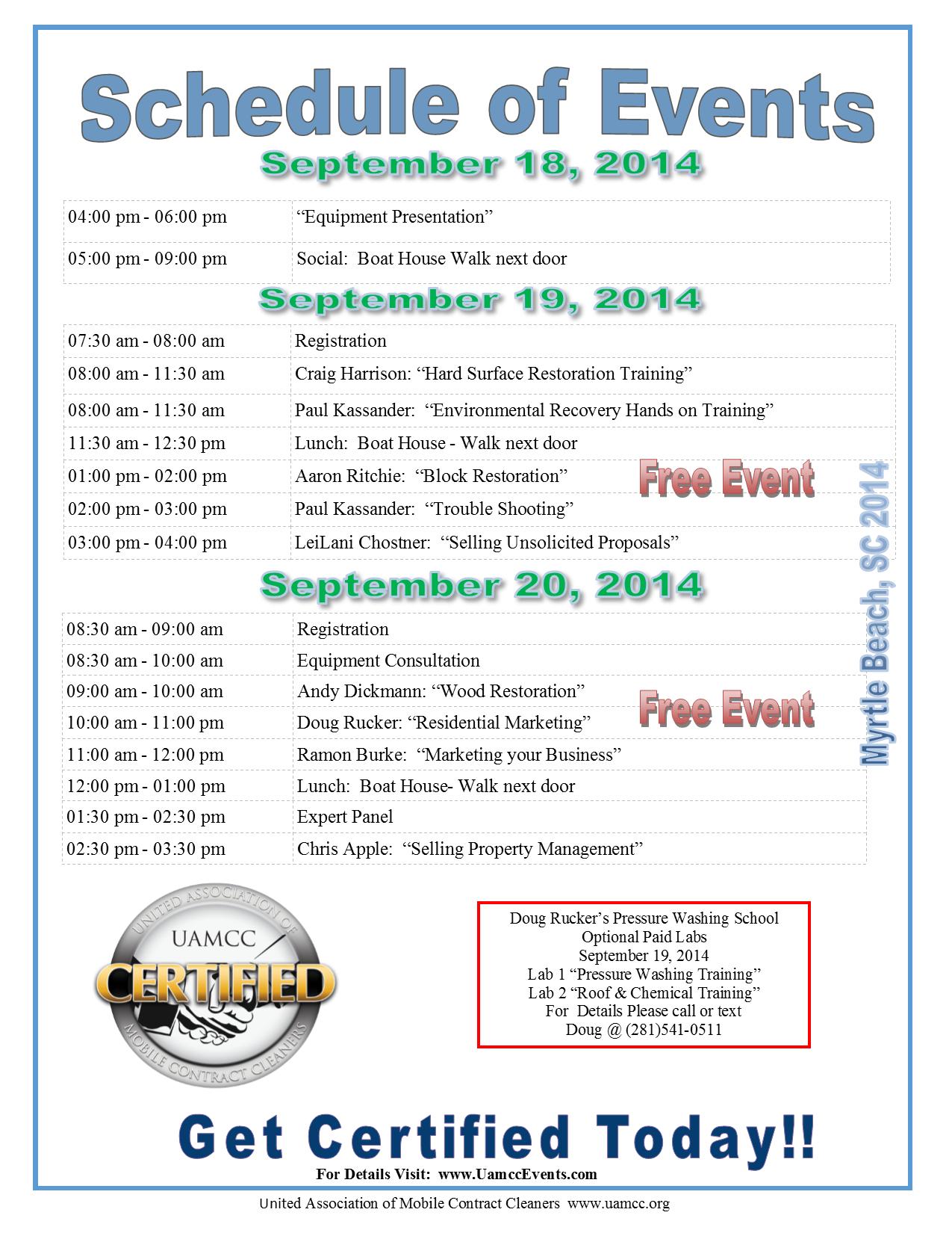 Myrtle Beach Schedule