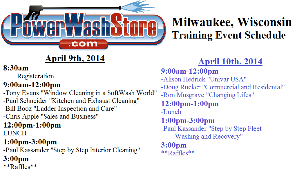 PowerWashStore.com Event Schedule