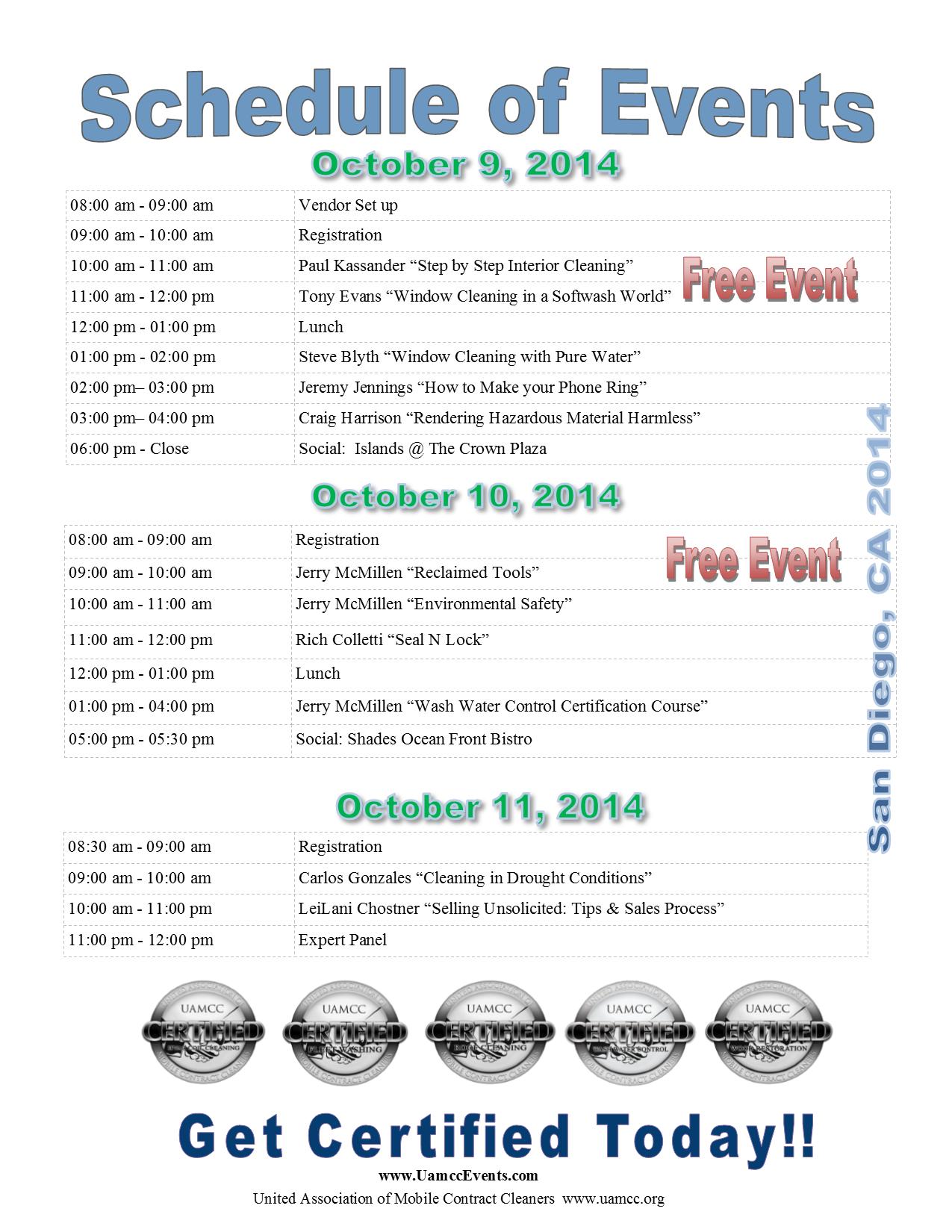San Diego Schedule